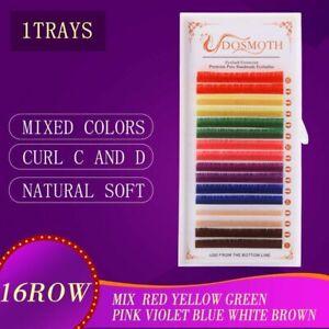 1 Tray Mink False Eyelashes Extension Synthetic Mix Natural Individual Lash Tool