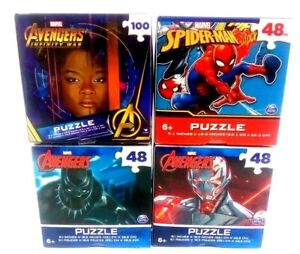 """4 Marvel Avengers Puzzle 9.1"""" X 10.3"""" Spider-Man Black Panther & More Toy Age 6+"""