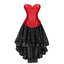 Black Red Pu Leather Zipper Corset With High and Low Skirt Set Clubwear Costume
