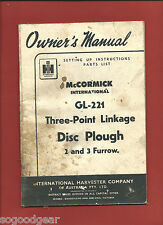 IH McCORMICK INTERNATIONAL GL-221 3 POINT LINKAGE PLOUGH OWNER'S MANUAL, 09/56
