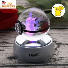 Pokemon Pikachu 3D LED Crystal Pokeball Night Light Table Desk Lamp Gift 50mm