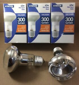 3 x 60w Spot Light Bulbs R63 Reflector Edison Screw E27 = 42 Watt Halogen Lamps