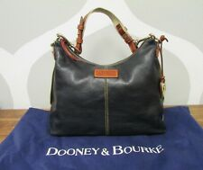 DOONEY & BOURKE Black Florentine Leather Saddle Hobo Bag Canvas Satchel Shoulder