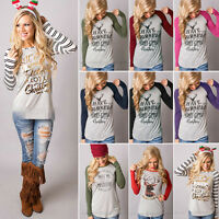 Womens Girls Christmas T-Shirt Ladies Long Sleeve Casual Basic Tops Blouse Shirt