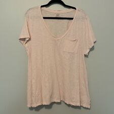 Women's Crown and Ivy Solid Pink V-Neck Authentic Tee Size Extra Large XL