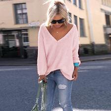 Frauen-V-Ausschnitt Oversized Chunky Strickpullover Loose Pullover-Tops Bluse
