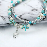 Bohemia Starfish Turquoise Beads Sea Anklet Beach Sandal Bracelet Women jewelry