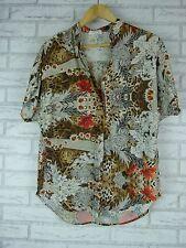MELA PURDIE Top/Blouse Sz 10, S Brown, Red, Black, White Animal Floral Print