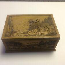 Vintage Cast Resin Moose Carving Men's Keepsake, Jewelry Box- Rare