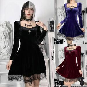 Women Long Sleeve Dress Punk Lace Velvet Gothic Short Mini Dress Halloween Party