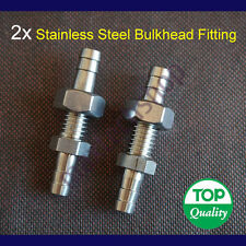 """2PCS 1/4"""" 6mm Stainless Steel Bulkhead Fitting Barb Hose Tube Connector Fuel Air"""