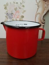 CHARMING VINTAGE FRENCH RED ENAMEL 1 LITRE JUG