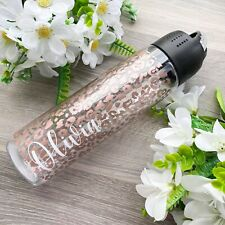 Personalised Leopard Print Reusable Water Bottle Flip Straw Cup