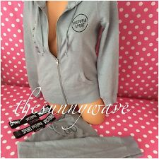 Victoria's Secret VSX Sport Full Zip Hoodie & Sweat Jogger Pants Set Gray NEW XS