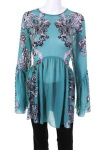 Intimately Free People Womens Sheer Paisley Long Sleeve Blouse Blue Size S
