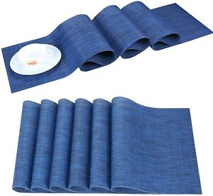 Blue PVC Woven Placemats Kitchen Dining Table Runner Mat Set Washable Non-Slip