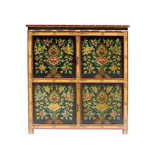 Chinese Tibetan Treasure Color Flower Graphic Credenza Storage Cabinet cs5804