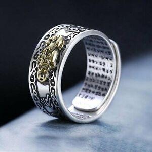 Pixiu Ring Feng Shui 925 Silver Amulet Wealth Luck Open Adjustable Buddhist Men