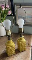 Mid Century Accent Lamp Pair Yellow Ceramic Chalkware Small Tropical Tiki Style