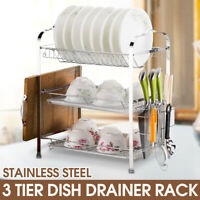 3 Tiers Chrome Dish Drainer Metal Holder Kitchen Cutting Dry Plate Cup Bowl Rack