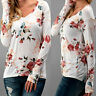 Womens Tops Shirt Long Sleeve Floral Printed V Neck Party Holiday Blouse Loose