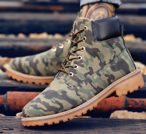 Winter Warm Camouflage Lace Up Ankle Leather Boots Punk Retro Outwear Shoes