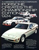 "1977 Porsche Championship Edition 924 Coupe photo ""Limited Number Made"" print ad"