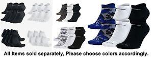 NEW Nike Dri Fit Unisex White/Black/Camo No Show Socks 6 Pr SZ 8-12 M L Dry Fit