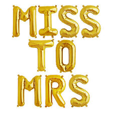 Party Supplies Gold 41cm Foil Letters Balloon 'MISS TO MRS' Wedding Engagement