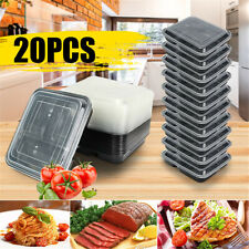 New listing 20Pcs 3 Compartment Food Prep Meal Storage Container Microwavable Lunch Box