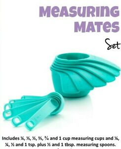 Tupperware Measuring Mates Cups and Spoons Aruba Blue NEW