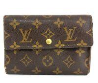 Auth Louis Vuitton Monogram Canvas Porte-Tresor Pochette Passport Trifold Wallet