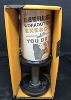 "VINTAGE ""THE BEER BELL"" BARBELL MUG GLASS WITH WORKOUT BOOK New Old Stock FUNNY"