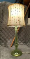 Vintage Retro Green LUCITE Table Lamp With Shade / Original Finial