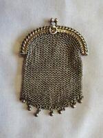 ANCIENNE AUMONIERE BOURSE PORTE-LOUIS DOUBLE EN ARGENT MASSIF - POIDS : 60 GR