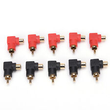 10Pcs RCA Right Angle Connector Plug Adapters Male To Female 90 Degree Elbow
