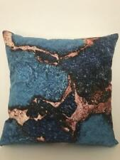 Art Abstract Teal Navy Bronze Marble Velvet Look Soft Pillow Cushion Cover 45cm