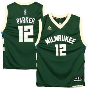 💯% Genuine Jabari Parker Milwaukee Bucks adidas Yth L Replica Jersey - Green