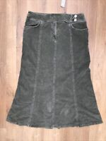 Per Una Long Green Cord Skirt Size 16r Bnwt M&s Marks & And Spencer's
