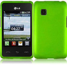 For TracFone LG 840G Rubberized HARD Case Snap On Phone Cover Neon Green
