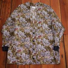 Animal Kingdom ZEBRA Tropical Jungle 100% Cotton Scrubs Top Long Sleeve Jacket L