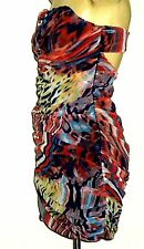 RARE(London) MultiColouredRuchedNetKeyholeStrapless Sz10 NWoT