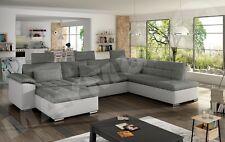Presto fabric & leather L-shape, U-shape, corner sofa black grey white 8 seater!