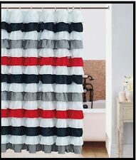 waterfall multi-color Printed Striped  BLACK / RED  Ruffled Shower Curtain