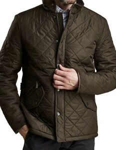NWT Barbour Mens Classic Casual Powell Fleece Quilted Jacket Coat OLIVE green  L