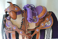 Reduced Again Purple Western Saddle Package 14 In Youth Barrel Pleasure-Usa