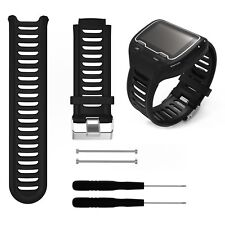 Silicone Watch Band Strap w/Tool For Garmin Forerunner 910XT GPS Watch In Black