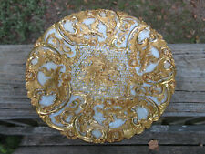 """Antique Meissen Porcelain Rococo Heavy Gold Gilded 8 3/4"""" Plate  ** #3 of 4 **"""