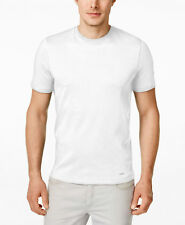 $95 MICHAEL KORS Men's WHITE GRAY CREW-NECK T-SHIRT SHORT-SLEEVE TOP TEE LOGO L