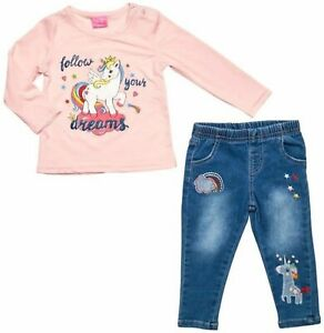 Baby Girls Unicorn Outfit T Shirt & Skinny Denim Jeans Set 6 months - 24 Cotton